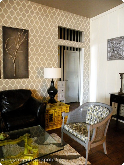 A stenciled living room makeover using the Casablanca Allover pattern from Cutting Edge Stencils. http://www.cuttingedgestencils.com/allover-stencils.html