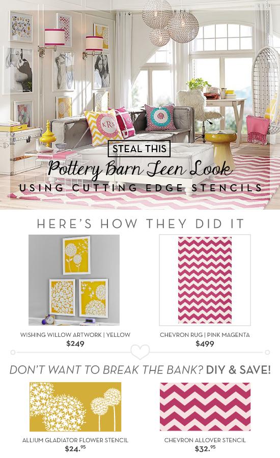 Cutting Edge Stencils shares diy ideas to recreate Pottery Barn Teen decor using stencils. http://www.cuttingedgestencils.com/flower-stencil-wall.html