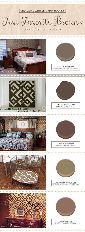 Cutting Edge Stencils shares stenciled room ideas using Benjamin Moore's five favorite brown paint colors. http://www.cuttingedgestencils.com/wall-stencils-stencil-designs.html