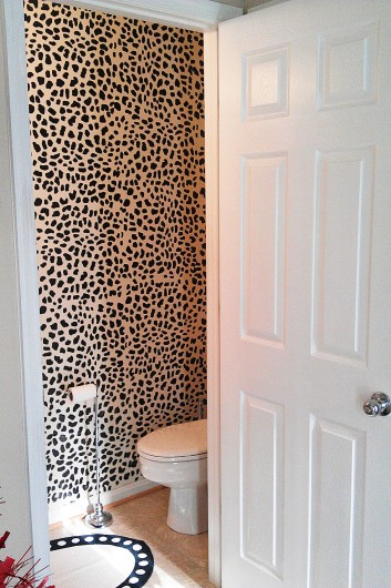 A Leopard Skin Allover stenciled powder room. http://www.cuttingedgestencils.com/leopard-pattern-animal-skin-stencil.html