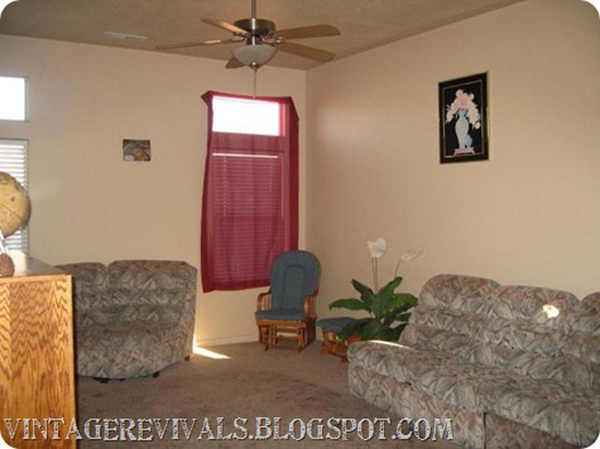 Living room before its stenciled makeover. http://www.cuttingedgestencils.com/allover-stencils.html