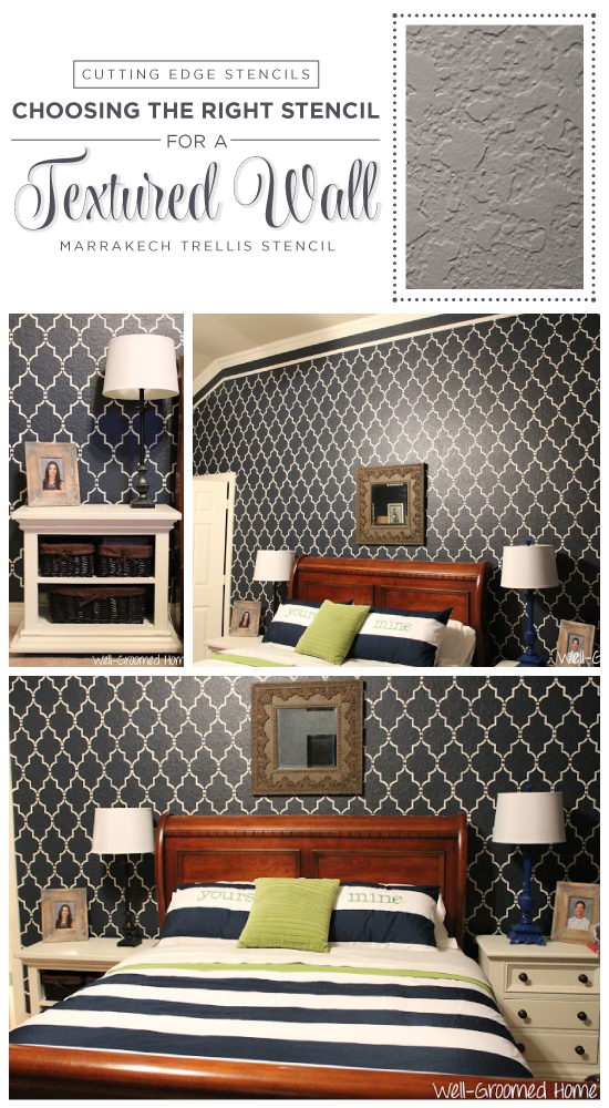 Stenciling a textured wall using the Marrakech Trellis Allover stencil pattern. http://www.cuttingedgestencils.com/moroccan-stencil-marrakech.html