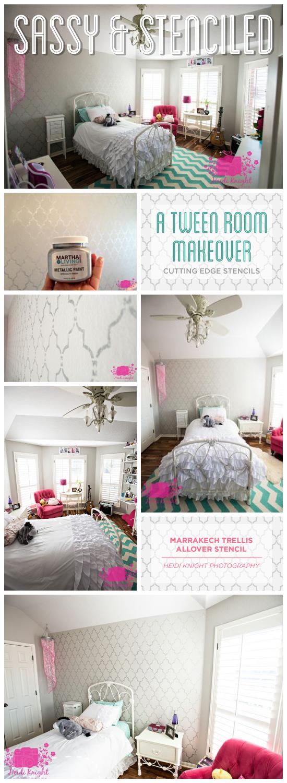 A Marrakech Trellis stenciled accent wall in a tween girl bedroom. http://www.cuttingedgestencils.com/moroccan-stencil-marrakech.html