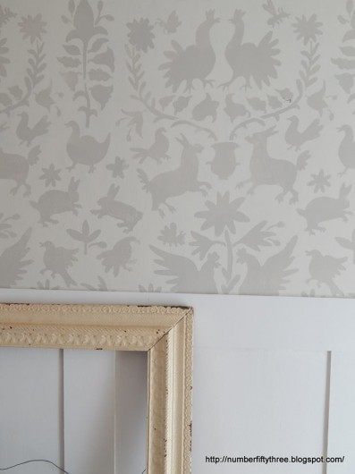 A white stenciled hallway using the Otomi Allover tribal pattern. http://www.cuttingedgestencils.com/otomi-tribal-wall-pattern-stencil.html