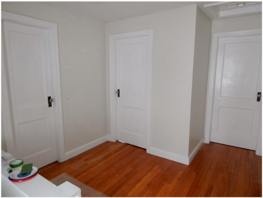 Picture of a hallway before it was stenciled with the Otomi Allover Pattern. http://www.cuttingedgestencils.com/otomi-tribal-wall-pattern-stencil.html