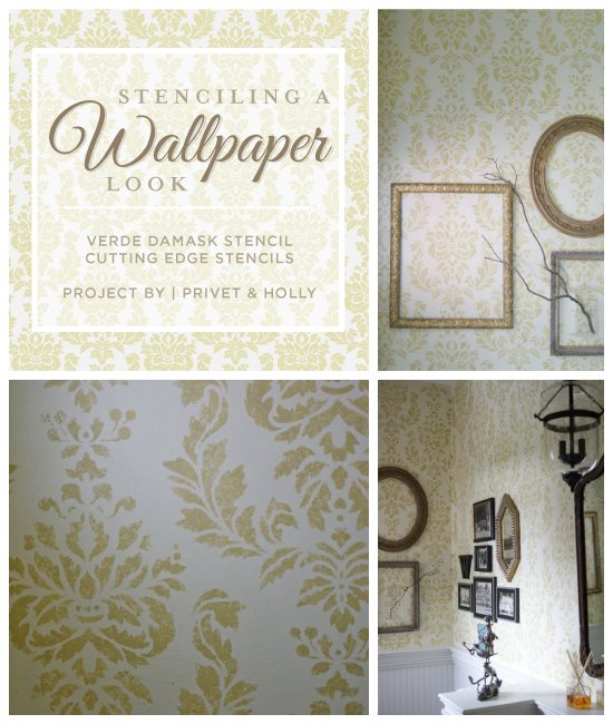 This Verde Damask stenciled powder room uses a stencil to get a wallpaper look. http://www.cuttingedgestencils.com/damask-stencil-wallpaper.html