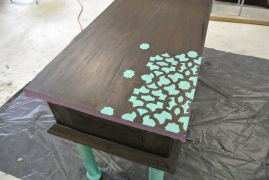 Stenciled buffet table using the Zamira Allover Stencil. http://www.cuttingedgestencils.com/craft-stencil-zamira.html