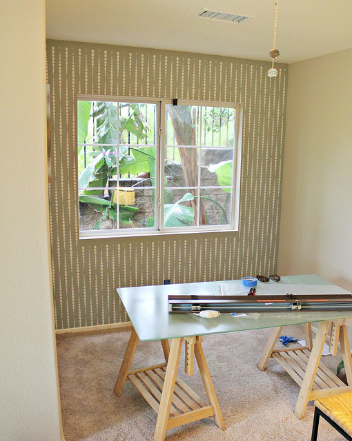 A Beads Allover Stenciled accent wall. http://www.cuttingedgestencils.com/beads-wall-stencil-pattern.html