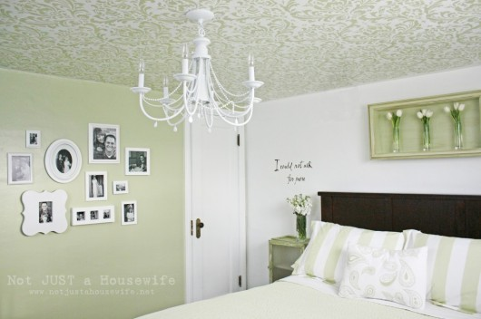 A green bedroom with a DIY stenciled ceiling using the Anna Damask pattern. http://www.cuttingedgestencils.com/damask-stencil.html