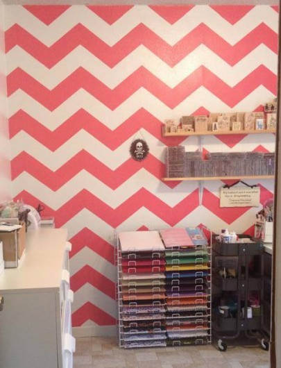 A stenciled accent wall in a craft room using the Chevron Allover Stencil pattern. http://www.cuttingedgestencils.com/chevron-stencil-pattern.html