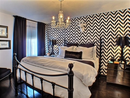 A stenciled accent wall in a bedroom using the Ikat Zig Zag from Cutting Edge Stencils. http://www.cuttingedgestencils.com/zigzag-stencil-pattern.html