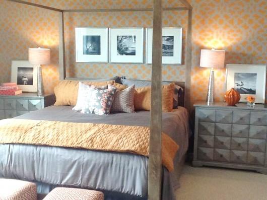 An orange stenciled bedroom using the Zamira Allover Stencil. http://www.cuttingedgestencils.com/moroccan-stencil-designs.html