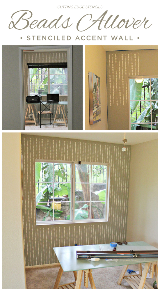 A stenciled accent wall using the Beads Allover Stencil. http://www.cuttingedgestencils.com/beads-wall-stencil-pattern.html
