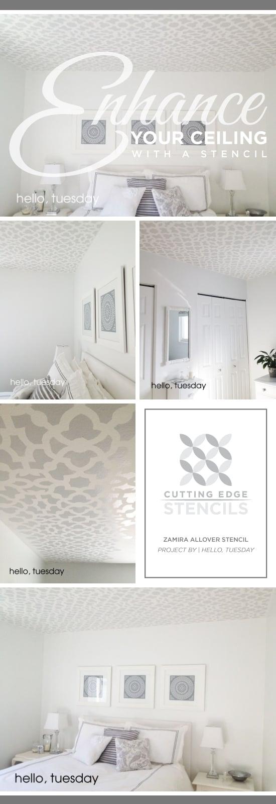 A gray stenciled bedroom ceiling using the Zamira Allover Stencil. http://www.cuttingedgestencils.com/moroccan-stencil-designs.html