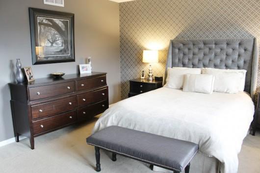 A DIY gray stenciled bedroom using the Fuji Allover Stencil. http://www.cuttingedgestencils.com/stencil-wall-stencils-fuji.html