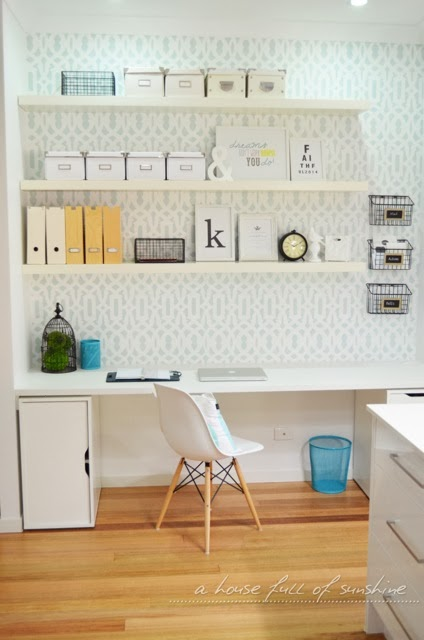 A stenciled office nook using the Trellis Alover Stencil in a mint color. http://www.cuttingedgestencils.com/allover-stencil.html