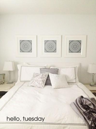 A before shot of a gray stenciled bedroom ceiling using the Zamira Allover Stencil. http://www.cuttingedgestencils.com/moroccan-stencil-designs.html