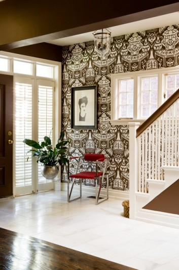 A front hall full of pattern spotted in Canadian House and Home Magazine.