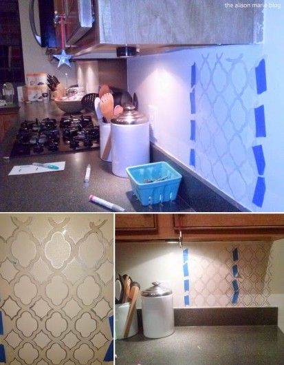 A DIY stenciled kitchen backsplash using the Rabat Craft pattern. http://www.cuttingedgestencils.com/rabat-furniture-fabric-stencil.html