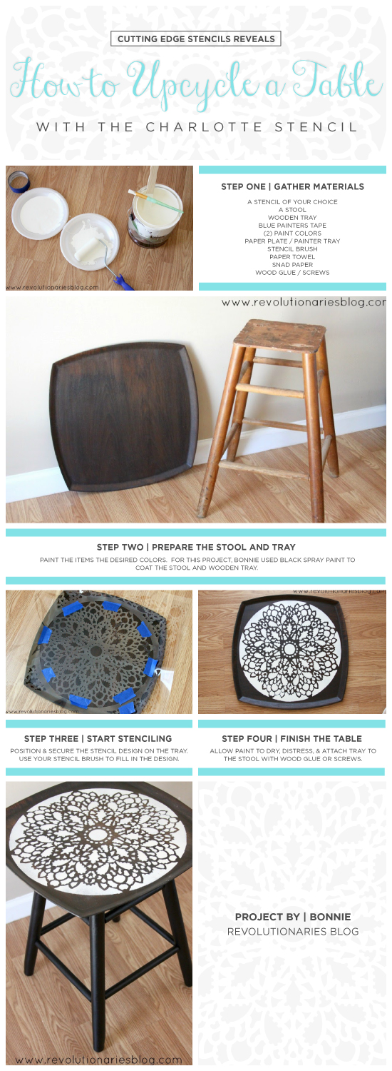Stencil Tutorial: How to upcycle a table using the Charlotte Allover Stencil. http://www.cuttingedgestencils.com/charlotte-allover-stencil-pattern.html