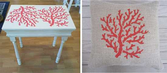 A DIY Coral Stenciled table. http://www.cuttingedgestencils.com/beach-style-decor-coral-stencil.html