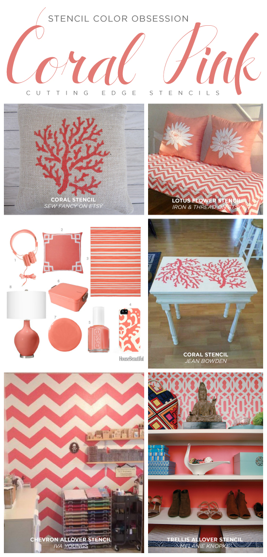 Stencil Color Obsession: Coral Pink on