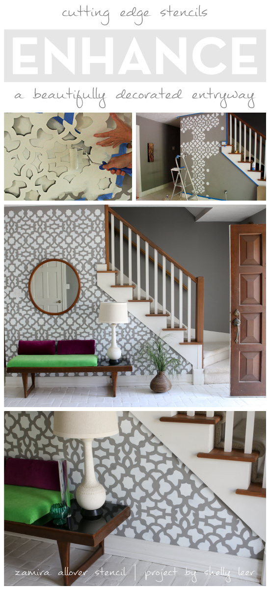 Stenciling an accent wall using the Zamira allover stencil for a wallpaper look in an entryway. http://www.cuttingedgestencils.com/moroccan-stencil-designs.html