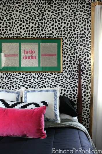 A DIY leopard stenciled bedroom. http://www.cuttingedgestencils.com/leopard-pattern-animal-skin-stencil.html