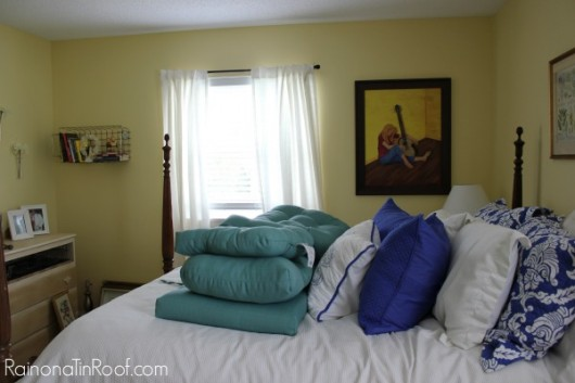 A before shot of a DIY leopard stenciled bedroom. http://www.cuttingedgestencils.com/leopard-pattern-animal-skin-stencil.html