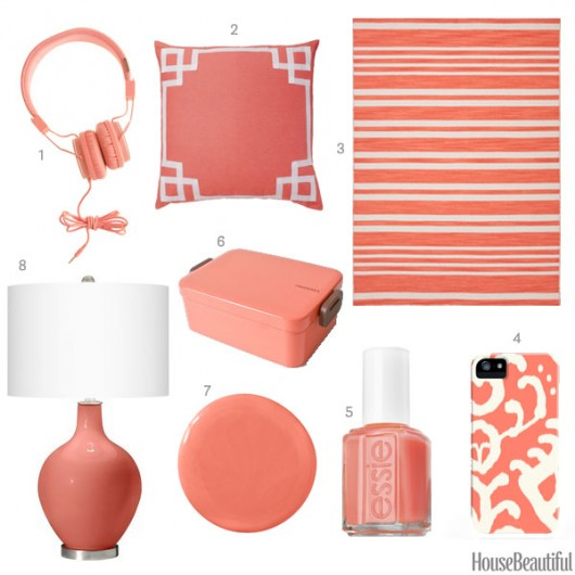 Coral pink home decor accessories spotted on House Beautiful.