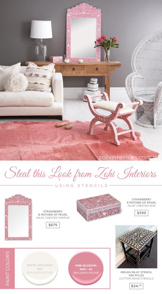 DIY stenciled furniture using the Indian Inlay Stencil Kit. http://www.cuttingedgestencils.com/indian-inlay-stencil-furniture.html