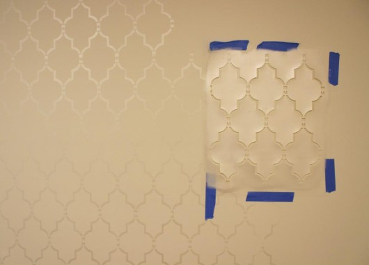 Stenciling an accent wall using a silver metallic and the Marrakech Trellis Allover Stencil. http://www.cuttingedgestencils.com/moroccan-stencil-marrakech.html