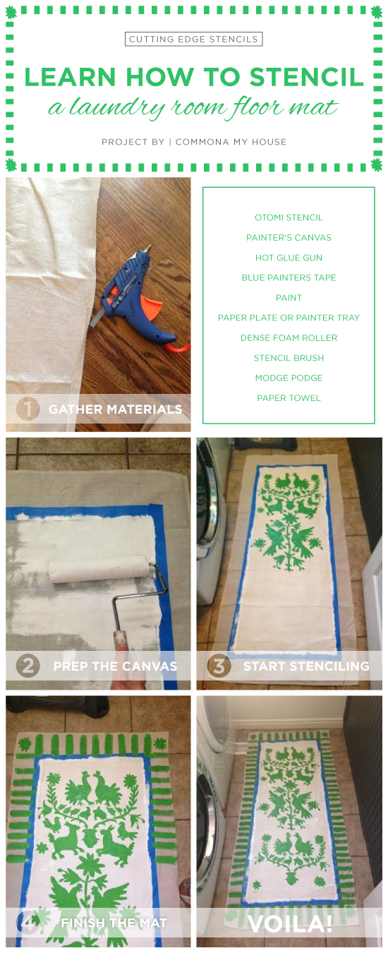Cutting Edge Stencils shares how to create an Otomi stenciled floor mat for a laundry room. http://www.cuttingedgestencils.com/otomi-tribal-wall-pattern-stencil.html
