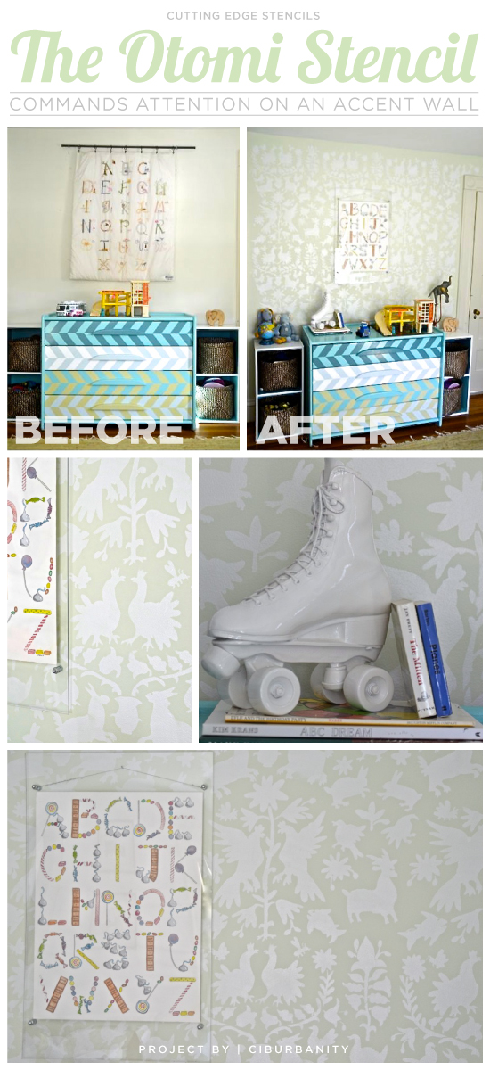 A DIY stenciled accent wall in a kids room using the Otomi Stencil. http://www.cuttingedgestencils.com/otomi-tribal-wall-pattern-stencil.html