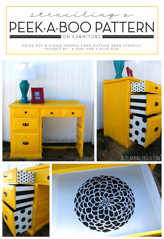 A DIY stenciled desk using the Polka Dot Stencil. http://www.cuttingedgestencils.com/polka-dots-stencils-nursery.html