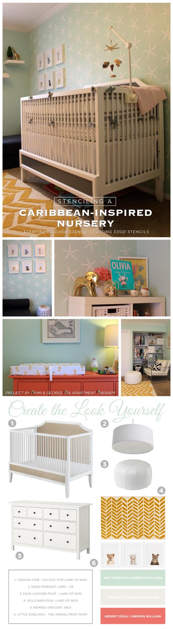 Steal the Look: A DIY Nursery design idea using the Starfish Allover Stencil. http://www.cuttingedgestencils.com/starfish-stencil-beach-style-decor.html