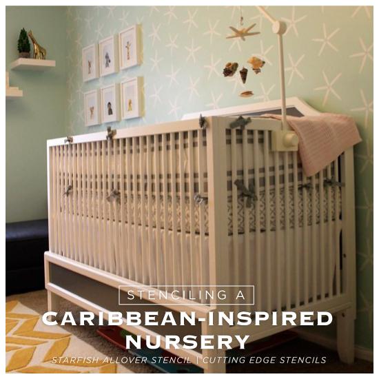 A DIY Nursery design idea using the Starfish Allover Stencil. http://www.cuttingedgestencils.com/starfish-stencil-beach-style-decor.html
