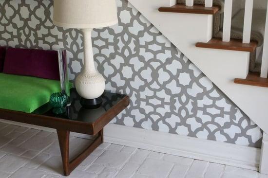 Stenciling an accent wall using the Zamira allover stencil for a wallpaper look. http://www.cuttingedgestencils.com/moroccan-stencil-designs.html