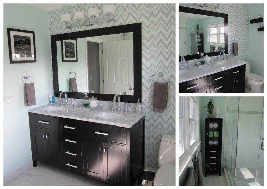 A DIY stenciled accent wall in a bathroom using the Retro Flame Stencil. http://www.cuttingedgestencils.com/retro-stencil-pattern.html