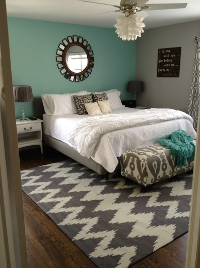 A teal, white, and gray bedroom idea from Retro Ranch Renovation.