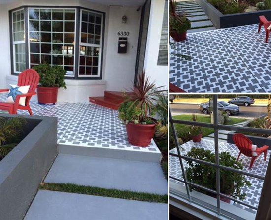 A DIY stenciled patio using the Square Plus Stencil. http://www.cuttingedgestencils.com/geometric-stencil-pattern-square.html