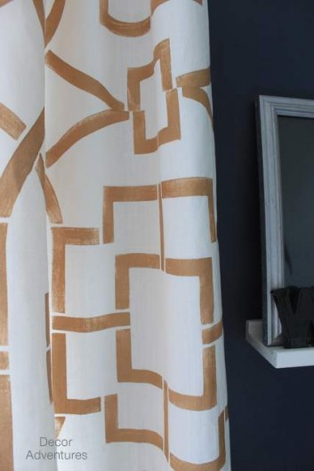 Stencil Tutorial: how to create DIY stenciled curtains using the Teal House Trellis pattern. http://www.cuttingedgestencils.com/tea-house-trellis-allover-stencil-pattern.html