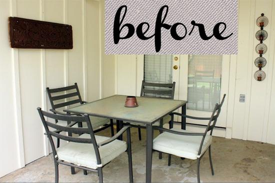 A patio before it's DIY stenciled makeover. http://www.cuttingedgestencils.com/bird-stencils-bird.html