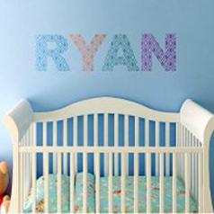 DIY nursery idea using the Alexa Letter Stencil from the alphabet stencil collection. http://www.cuttingedgestencils.com/alexa-letter-stencils-for-walls-nursery.html