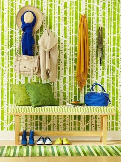 A DIY chartreuse stenciled accent wall using the Birch Forest pattern. http://www.cuttingedgestencils.com/allover-stencil-birch-forest.html