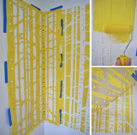 Stenciling a playroom with a Birch Forest Stenciled accent wall.. http://www.cuttingedgestencils.com/allover-stencil-birch-forest.html
