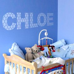 DIY nursery idea using the Casablanca Letter Stencil, part of the alphabet collection. http://www.cuttingedgestencils.com/casablanca-alphabet-letter-stencil-for-walls.html
