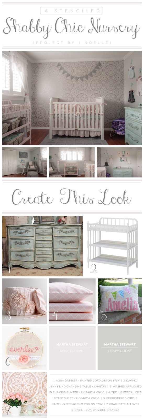 A stenciled shabby chic nursery using the lace like Charlotte Allover pattern on an accent wall. http://www.cuttingedgestencils.com/charlotte-allover-stencil-pattern.html