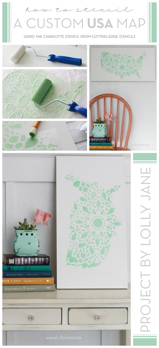 DIY stenciled wall art using the Charlotte Allover Stencil and a USA silhouette. http://www.cuttingedgestencils.com/charlotte-allover-stencil-pattern.html