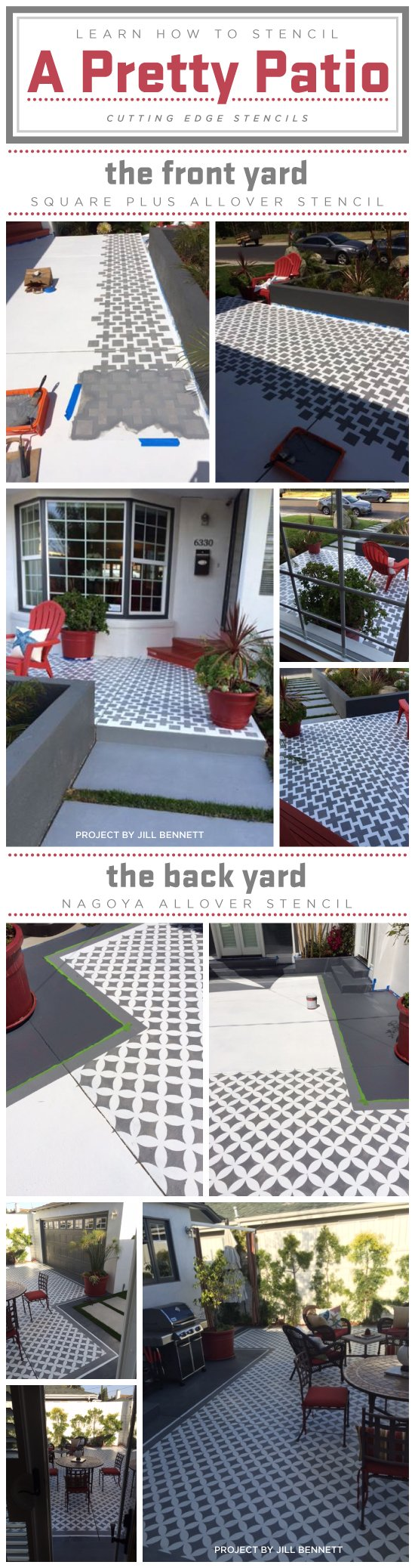 Stencil Tutorial: How to stencil a pattern on a patio using Cutting Edge Stencils. http://www.cuttingedgestencils.com/wall-stencils-stencil-designs.html